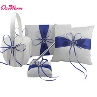 Wholesale white basket set - 4Pcs lot Romantic Wedding Decoration Rhinestone Stain Ribbon Wedding Ring Pillow+ Flower Basket +Guest Book + Pen Sets 8Colors