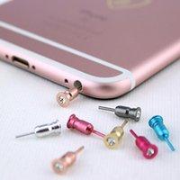 Wholesale Alloy Dust Plugs - Phone Alloy Earphone Diamond Jack Dust Plug Cap for iPhone 7 7plus 5 5S 6 Huawei P10 Samsung S8 Anti Dust Stopper SIM Ejector