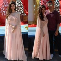 pembe arab gowns toptan satış-2018 Yeni Arap Stil Pembe Gelinlik Modelleri Dantel Aplike Elbise Akşam Aşınma Sequins A Hattı Örgün Parti Törenlerinde