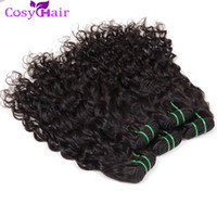 Wholesale hot water hair extensions - Hot Sale Brazilian Wet Wavy Hair Weave Sew in Hair Extensions Big Curly Human Hair Weaving 5pcs Cheap Wefts Natural Water Wave