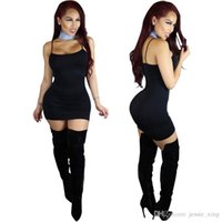 Wholesale Girl S Night - Hot Summer sexy & club strap dress casual big size women sleeveless vest dress White Black girls long tops night party clothes