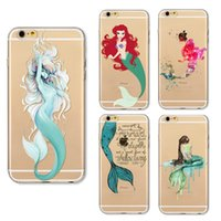 Wholesale Iphone Little Mermaid - For iPhone 7 case cartoon Little Mermaid TPU painting ultra thin cell phone case Back soft slim silicone Cover Skin for iphone 5S 6S 7 Plus