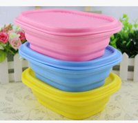 Wholesale Creative portable lunch box Folding strenched silicone bowl lunch box with cover food grade Outdoor Tableware Folding Bowl for sala