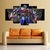 Wholesale Oil Painting Definition - 5 pieces of movie posters painted on the canvas modern decoration room optimus prime transformer high definition printing oil painting