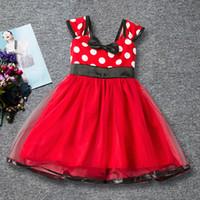 Wholesale Organza Dot Ribbon - new Children's wave point Slim dress summer new European and American sling children's dress wholesale price
