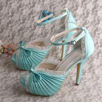 Wholesale Satin White Dress Sandals - (20 Colors) Elegant Satin 12cm Heel Pumps With Lace Bow Wedding Shoes Sandals Bridal Free Shipping
