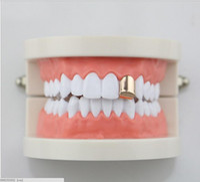 Wholesale Golden Teeth - HIPHOP GRILLZ single metal hip-hop bracelet single golden hip-hop glossy teeth hip-hop braces