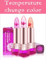 Wholesale Lips Balm Color - 2016 Temperature Change Color Lip Balm 3 Color Waterproof Long-lasting Sweet Transparent Jelly Flower Pink Moisturizer Lipstick