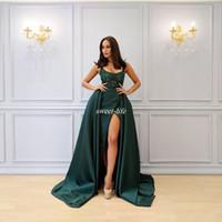 senhora escura venda por atacado-Arábia Saudita Verde Escuro Vestidos de Noite 2019 Sexy Colher Decote Beading Alta Dividir Prom Vestido Senhora Formal Vestidos de Festa robe de soirée