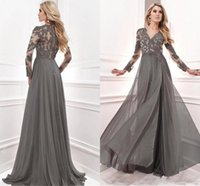 Wholesale Evening Dress Gown Grey - 2017 Grey Long Sleeves V-neck Mother of the Bridal Dresses Sheer Beaded Lace Appliques Chiffon A-line Prom Evening Gowns