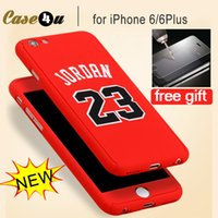 Wholesale Iphone Glass Case Back - Fashion 360 Degree Front Back Full Body Protective Skin Basketball Case Cover For fundas iPhone 6s 7plus Covers With Tempered Glass Film