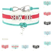 Wholesale Gift Service - (10 Pieces Lot)Infinity Love Show Service Dog Bone Charm Leather Wrap Bracelets For Women Men Gifts Jewelry