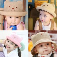 Wholesale Straw Hats For Children - baby summer hats for beach kids outdoor bear children baby straw cap new kids sun hats free fast shipping