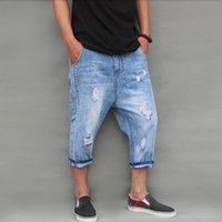 Wholesale crotch holes - Wholesale- 2017 fashion Spring and summer hole denim capris jeans male big crotch loose plus size personalized light blue hole capris jeans