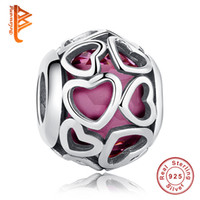 BELAWANG Wholesale Fit Original Pandora Charm BraceletsBangles DIY Jóias Rose Red Glass Beads 925 Sterling Silver Love Heart Charms Beads