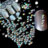 Wholesale Small Crystal Nail Art - Wholesale- 1lot=1000pcs 2mm AB Nail Art Rhinestones Small Flatback Crystal AB 14 Facets Resin Round Rhinestone Beads J22