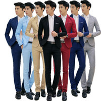 bir düğme uygun toptan satış-Erkekler Terzi Takım Bir Düğme Slim Fit Ceket Smokin Blazer Sportcoat Pantolon Düğün Smokin Resmi Iş Setleri 2 adet / takım LJJO3230
