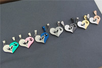 "Wholesale Couples Half Heart Pendants Necklaces - Heart-shape ""I Love You"" Necklace for Couple Lovers Half Heart Pendant Korean Accessories Fashion Paired Suspension Pendant Model Gift"
