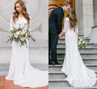 vestidos de novia de gasa modestos al por mayor-Vestidos de boda modestos vintage con mangas largas Vestidos de boda de gasa de encaje bohemio 2019 Vestido de boda del país por encargo