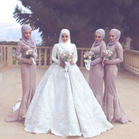 Wholesale Hijab Wedding Dresses Plus Size - Hijab Muslim Women Formal Evening Gowns with Long Sleeve Applique Lace Mermaid Satin 2017 Plus Size Country Wedding Bridesmaid Dresses Hi Lo