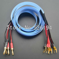 Wholesale Spade Banana - Freeshipping 14 core Nor dost Blue heven Silver Audiophile Teflon Speaker Cable 2.5m for banana plugs to Y spade