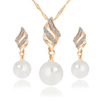 Wholesale Gift Set Pearl Necklace Wholesale - New Alloy Pearl Diamond Necklaces Earrings Jewelry Set Gold White 10pcs Size 35*9mm 41*11mm Weight 13g