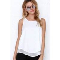 Wholesale Loose Cotton Tanks - 2017Summer Women Chiffon Tanks Sleeveless Loose Solid White Back Split Shirts OL Tees Tops Casual Blusas tank top women