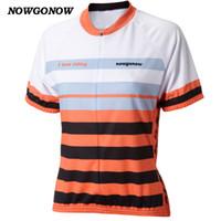 laranja ciclismo jersey mulheres venda por atacado-NOWGONOW 2017 mulheres camisa de ciclismo laranja branco eu adoro andar de roupas top desgaste da bicicleta dos desenhos animados mtb estrada Quick Dry Respirável Muito linda
