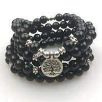 Wholesale SN1166 New Design Women s Mala Beads Bracelet Trendy Yoga Necklace Tree of Life Black Agate Bracelet