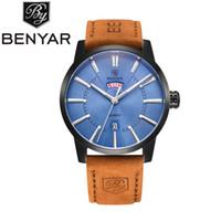Wholesale Tan Color Belts - 2017 NEW BENYAR Men's Quartz Waterproof Watches Business Gentleman Brown Leather Band Strap Wrist Watch