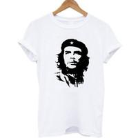 guevara do che camisetas venda por atacado-100% Algodão Che Guevara Gráfico Imprimir T-shirt Branco Cinza Estilo Verão Mulheres Fino Harajuku T Camisa Feminina Blusa Mulheres Tee Tops
