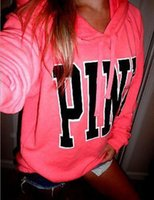 Wholesale Long Button Up Womens Shirt - Women Pink Letter Sweatshirts VS Pink Tops VS Pink Pullover Letter Print Hoodie Fashion Shirt Coat Long Sleeve Hoodies Sweate rompers womens