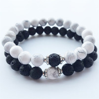 Wholesale strand beads wholesale - Natural Stone Bracelets 2018 Hot New Lava Volcanic Stone White Turquoise Bracelet Wholesale Handmade Beads Bracelets for Men Women Jewelry