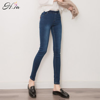 Wholesale Strech Leggings - Wholesale- 2016 New Women Jeans Leggings Fall Fashion Female Denim Strech Blue Black Skinny Pants Elastic Waist Pencil Pants Plus size