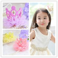 Wholesale Baby Headress - Wholesale- hair accessories crown Children's hair band baby girl's headwear Princess Crystal Crown Hairband Birthday Party Headress 613