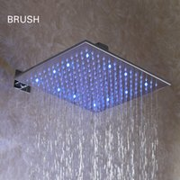 Wholesale Brushed Nickle - 12 Inch Bathroom Square Brushed Nickle Overhead LED Rainfall Shower Head - Free Shipping (D003-1)