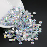 Wholesale Glue For Arts - All Size Crystal AB Resin Flatback Rhinestone Glue on Flat back Stone for Nail Art Deco 3mm,4mm,5mm,6mm