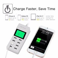 Wholesale Usb Adaptor Tablet - 8 USB Ports Socket AC Wall Smart Charger 40W 9A Home Travel Adaptor for Cellphone Tablet MP3 w  LED Screen Mobile Phone Chargers