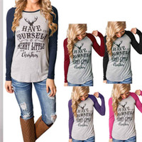 Wholesale Ladies Long Sleeve Tops Xs - Wholesale- 2016 Women Tops Summer T-shirt Merry Christmas Letter Print Fashion Long Sleeve T-shirt Casual Ladies Tops Tee Shirt