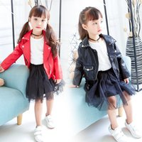 Wholesale American Baby Girls Leather Coats - 2017 Autumn New Arrival Children Short Coat Girls Fashion Motorcycle Leather Clothes Korean Style Kids Rivet Jacket Baby Girls Coat Clothes