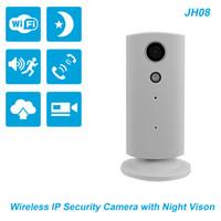 vision nocturne contrôlée à distance achat en gros de-Caméra IP réseau sans fil JH08 (blanche) de vision nocturne de haute qualité à prix modéré avec télécommande et système de surveillance audio bidirectionnel