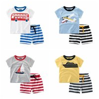 Wholesale T Shirt Cars Baby - Baby Clothing Kids Clothes Fashion T-shirts Pants Children Cotton Suit Auto Print Tops Shorts Cars Boat Aircraft Shirts Trousers Outfits L10