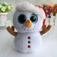 Wholesale Crystal Toy Eye Wholesale - Wholesale- Scoop SnowmanTY BEANIE BOOS snowball 1PC 15CM BIG CRYSTAL EYES Plush Toys Stuffed animals nano dolls children toy
