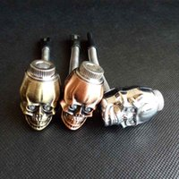 Wholesale Reggae Smoke - skull shape metal smoking pipe LED Luminous scalable property metal Tobacco Cigarette rasta reggae pipe 3 colors with Gift Box