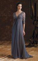 Wholesale Grey V Neck Dress - Half Sleeve Grey Mother Of The Bride Dresses Appliqued Chiffon V-Neck Formal Women Evening Gowns A-Line Weddings Party Dress 2017