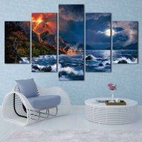 Wholesale Natural Oil Paintings Canvas - Jesse Barnes works, Natural Landscape HD Canvas print 5 Panel Wall Art Oil Painting Textured Abstract Pictures Decor Living Room Decoration