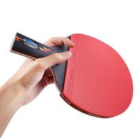 tischtennis langer pimple gummi großhandel-Langer Griff-Erschütterungshandgriff-Tischtennis-Schläger Ping Pong-Paddel-Pickel im Gummi Ping Pong-Schläger mit Schläger-Beutel geben Verschiffen frei