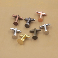 Wholesale Antique French Copper - Mix colors 6MM 8MM 10MM 12MM antique bronze blank cufflinks base, black rose gold bezel cuff link settings, French silver cufflink tray diy