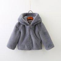 Wholesale Ear Fur Coats - Children cute outwears 2017 new winter girls cotton hooded rabbit ears fur cloak sweater kids zipper long sleeve thickening coats C0998