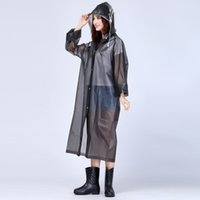 Wholesale Rain Jackets Sale - 2017 Cheap Sale Women Long Jacket Semi Transparent Waterproof Women Hooded Rain Coat EVA Friendly Women Ponchos Jackets